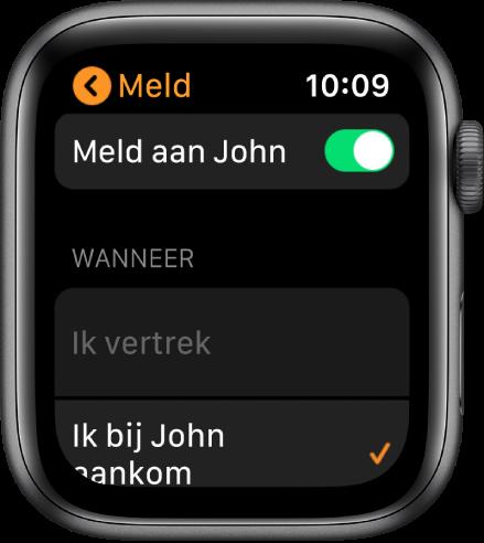 Het Meld-scherm in de Zoek personen-app. 'Meld' is actief en 'Wanneer ik bij John aankom' is geselecteerd.