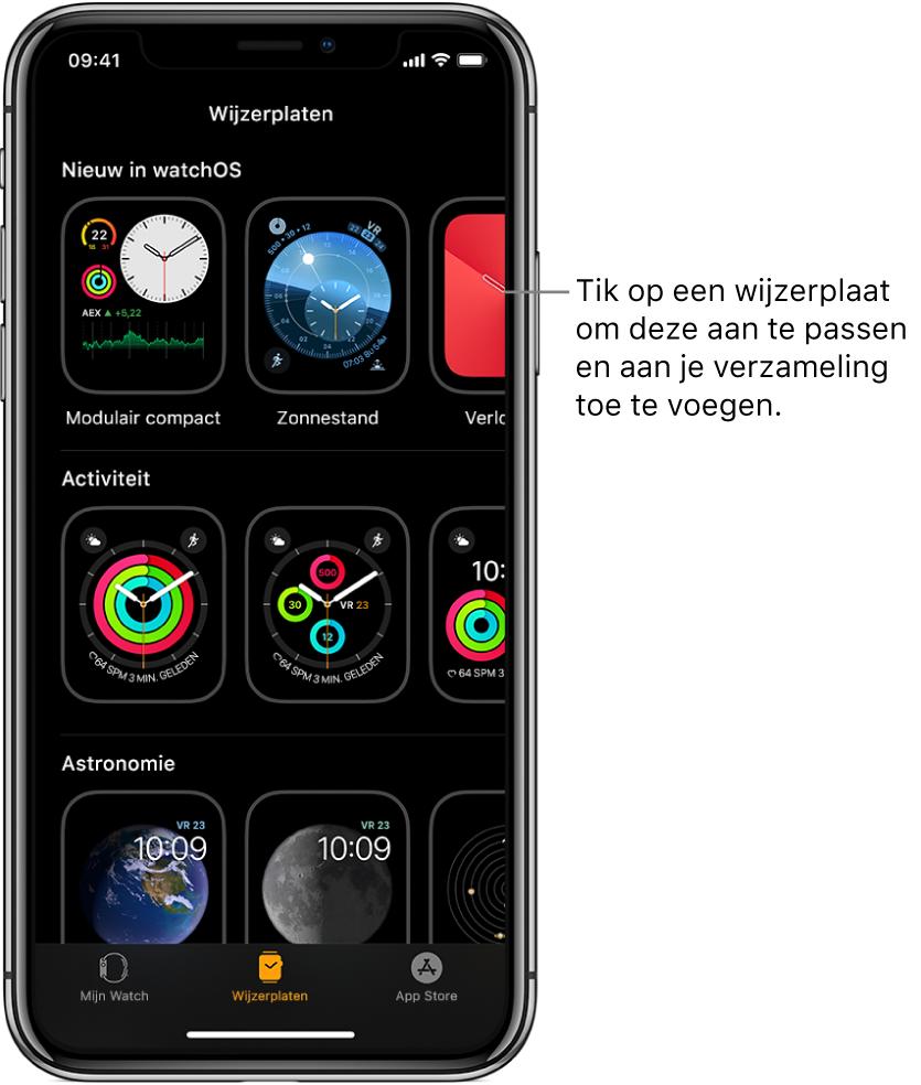 De AppleWatch-app met de wijzerplaatgalerie. In de bovenste rij staan nieuwe wijzerplaten en in de volgende rijen staan de wijzerplaten gegroepeerd op type, zoals Activiteit en Astronomie. Je kunt scrollen om meer wijzerplaten te bekijken. De wijzerplaten zijn gegroepeerd op type.