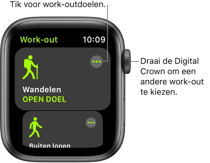 Het Work-out-scherm met de work-out 'Wandelen' geselecteerd. Rechtsbovenin bevindt zich de knop 'Meer'. Onderin is een deel van de work-out 'Buiten lopen' te zien.