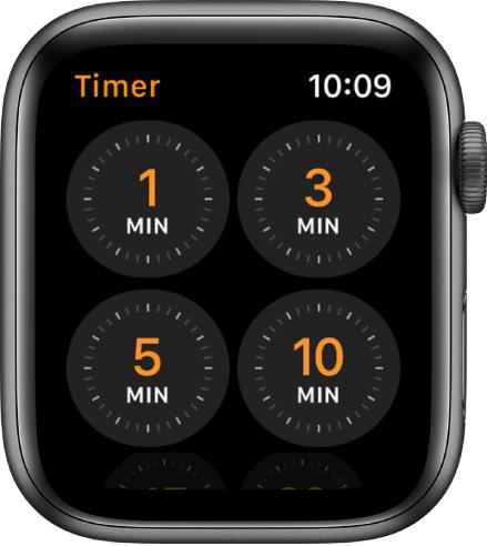 Het scherm van de Timer-app, met timers voor 1, 3, 5 en 10minuten.