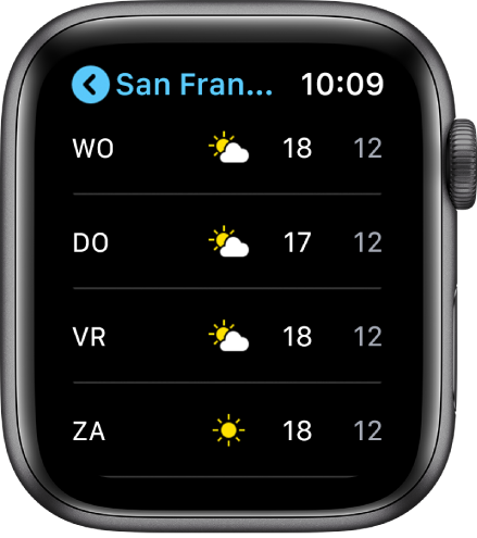 De Weer-app met de weersverwachting van deze week.