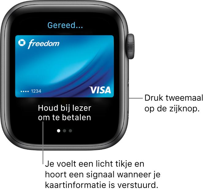 Apple Pay-scherm met bovenin 'Gereed' en onderin 'Houd bij lezer om te betalen'; je voelt een licht tikje en hoort een geluidssignaal wanneer je kaartgegevens zijn verstuurd.