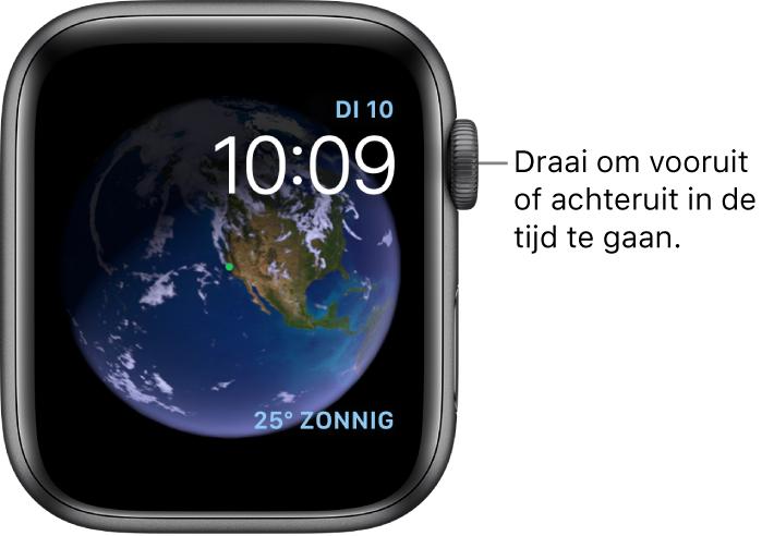 De wijzerplaat Astronomie toont de dag, de datum en de actuele tijd. Rechtsonderin bevindt zich een Weer-complicatie. Draai de DigitalCrown om vooruit of achteruit in de tijd te gaan.