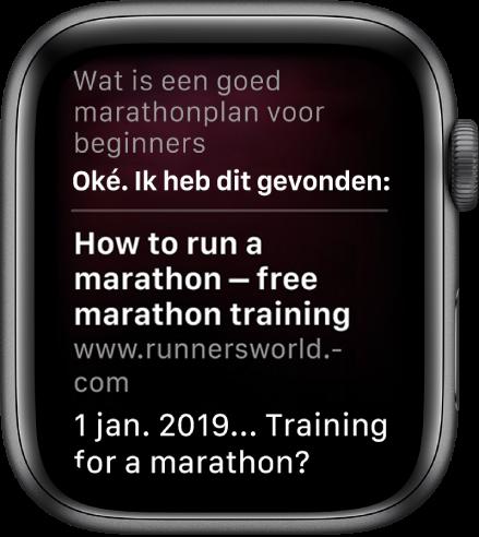 """Siri beantwoordt de vraag """"Wat is een goed marathonplan voor beginners?"""" met een antwoord van het internet."""