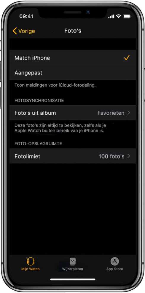 Instellingen voor Foto's in de AppleWatch-app op de iPhone, met in het midden de instelling 'Gesynchroniseerd album' en daaronder de instelling 'Fotolimiet'.