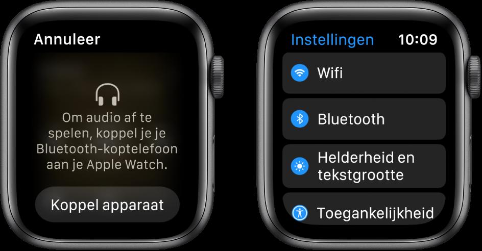 Als je de audiobron instelt op AppleWatch voordat je Bluetooth-luidsprekers of een Bluetooth-headset koppelt, verschijnt er onder in het scherm een knop 'Koppel apparaat'. Met deze knop ga je rechtstreeks naar de Bluetooth-instellingen op je AppleWatch, zodat je een luisterapparaat kunt toevoegen.