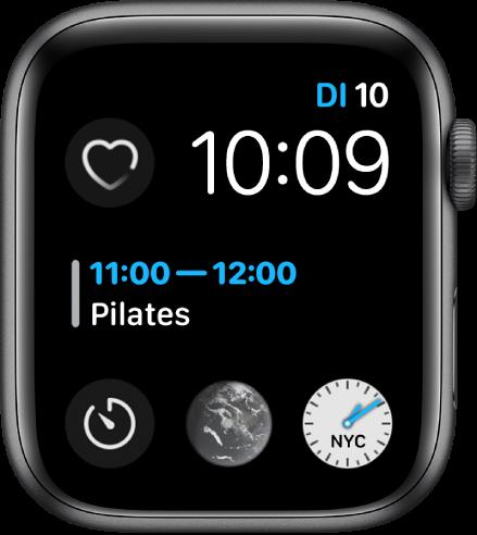 De wijzerplaat Infograaf modulair met rechtsbovenin de dag, datum en tijd, in het midden het weer en onderin drie subwijzerplaten.