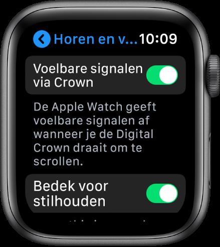 Het scherm 'Voelbare signalen via Crown', met de schakelaar 'Voelbare signalen via Crown' ingeschakeld.