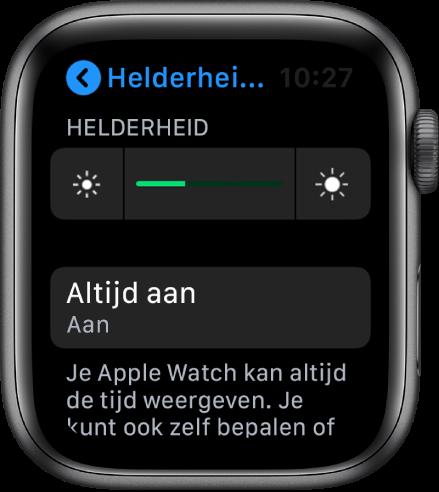 Het AppleWatch-scherm met de knop 'Altijd aan' in het scherm 'Helderheid en tekstgrootte'.