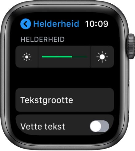 Instellingen voor de helderheid op de AppleWatch, met bovenaan de schuifknop 'Helderheid', daaronder de knop 'Tekstgrootte' en onderaan de optie 'Vette tekst'.