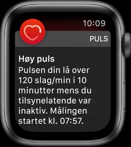 Høy puls-skjermen som viser en varsling om at pulsen din lå over 120slag per minutt mens du har vært inaktiv i 10minutter.