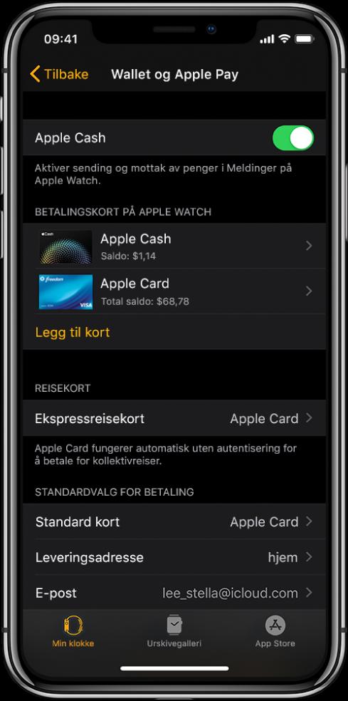Wallet og ApplePay-skjermen i AppleWatch-appen på iPhone. Skjermen viser kort som er lagt til på AppleWatch, kortet du har valgt å bruke for ekspressreise, og innstillinger for standardvalg for betaling.