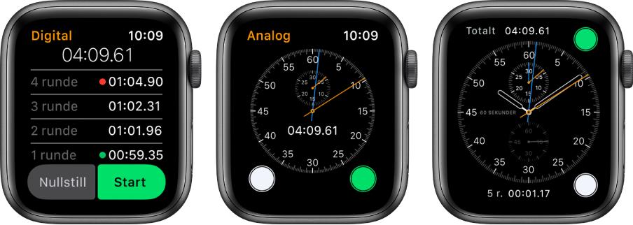 Tre urskiver som viser tre forskjellige stoppeklokker: en digital stoppeklokke i Stoppeklokke-appen, en analog stoppeklokke i appen og stoppeklokke-kontrollene som er tilgjengelige på Kronograf-urskiven.