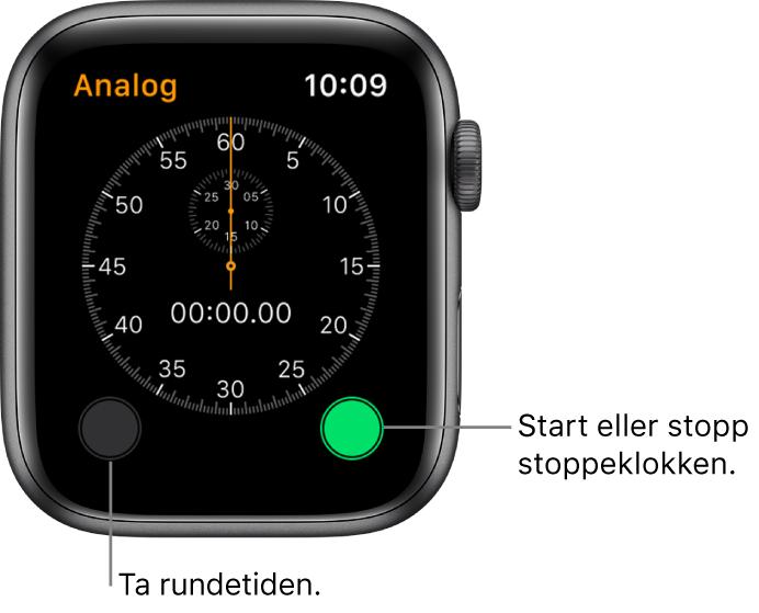 Analog stoppeklokke-skjerm. Trykk på høyre knapp for å starte og stoppe og på venstre knapp for å registrere rundetider.