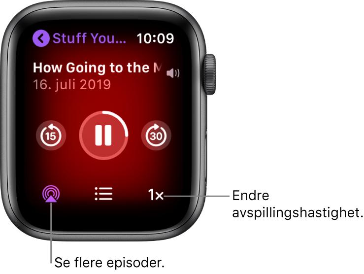 En Spilles nå-skjerm i Podkaster, med programtittel, episodetittel, dato, Gå tilbake 15 sekunder-knappen, pauseknappen, Gå fram 30 sekunder-knappen, episodeknappen, volumindikator og knappen for avspillingshastighet.