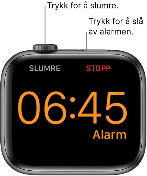 En AppleWatch som er plassert på siden, der skjermen viser at en alarm har ringt. Nedenfor Digital Crown står ordet «Slumre». Ordet «Stopp» står under sideknappen.