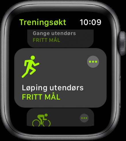 Trening-skjermen, med Løping utendørs markert.