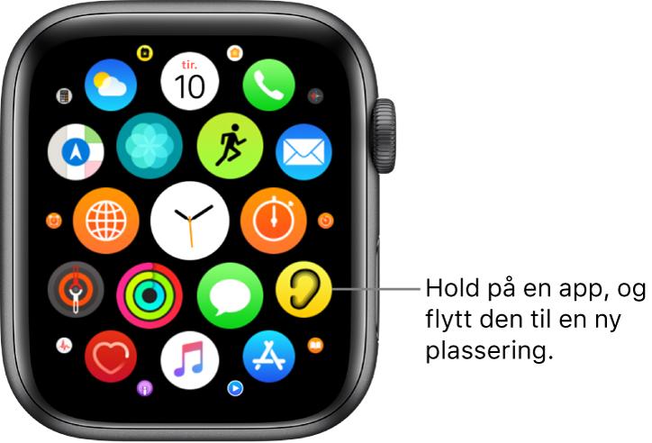 Hjem-skjermen på Apple Watch i rutenettvisning. Bildeforklaring: Hold på en app og flytt den til en ny plassering.