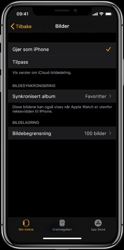 Bilder-innstillinger i AppleWatch-appen på iPhone, med Synkronisert album-innstillingen i midten og Bildebegrensning-innstillingen under.