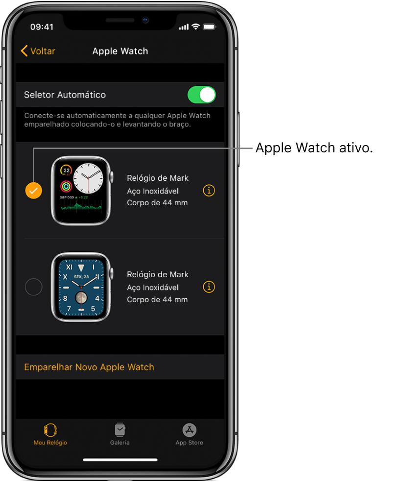 Marcas de verificação mostram o AppleWatch ativo.