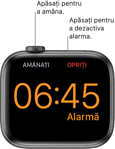 """Un Apple Watch așezat pe muchie, pe ecran fiind afișată o alarmă care s-a declanșat. Sub coroana Digital Crown este cuvântul """"Amânare"""". Cuvântul """"Stop"""" se află sub butonul lateral."""