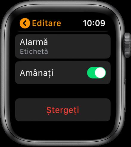 Ecranul Editați alarmă, cu butonul Ștergeți în partea de jos.