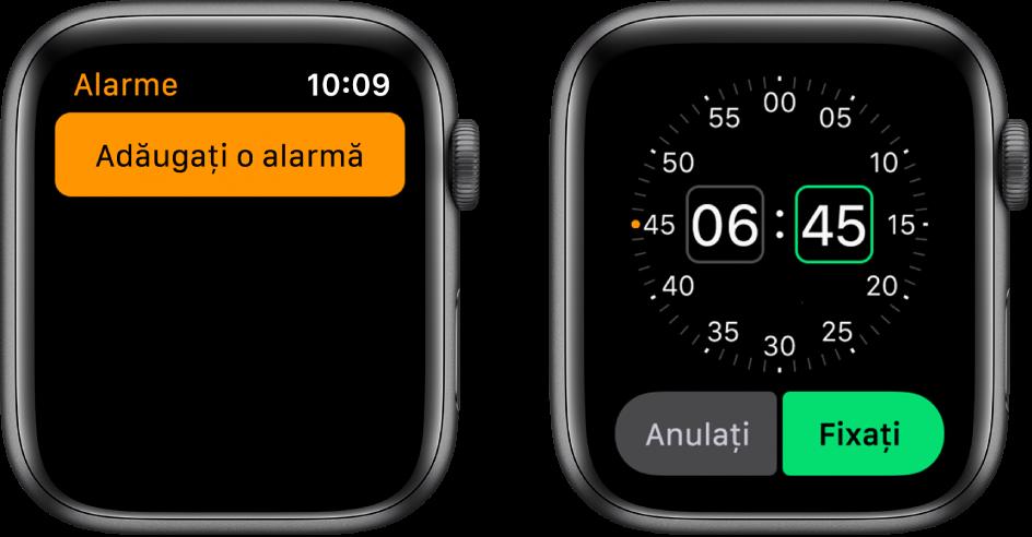 Două ecrane de ceas prezentând procesul de adăugare a unei alarme: Apăsați Adăugați o alarmă, apăsați A.M. sau P.M., întoarceți coroana Digital Crown pentru a ajusta ora, apoi apăsați Fixați.