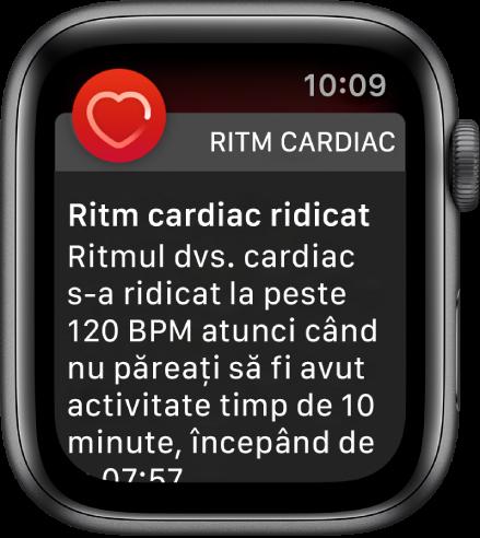 Ecranul Ritm cardiac afișând o notificare conform căreia ritmul dvs. cardiac a depășit 120 bpm într-o perioadă de inactivitate de 10 minute.