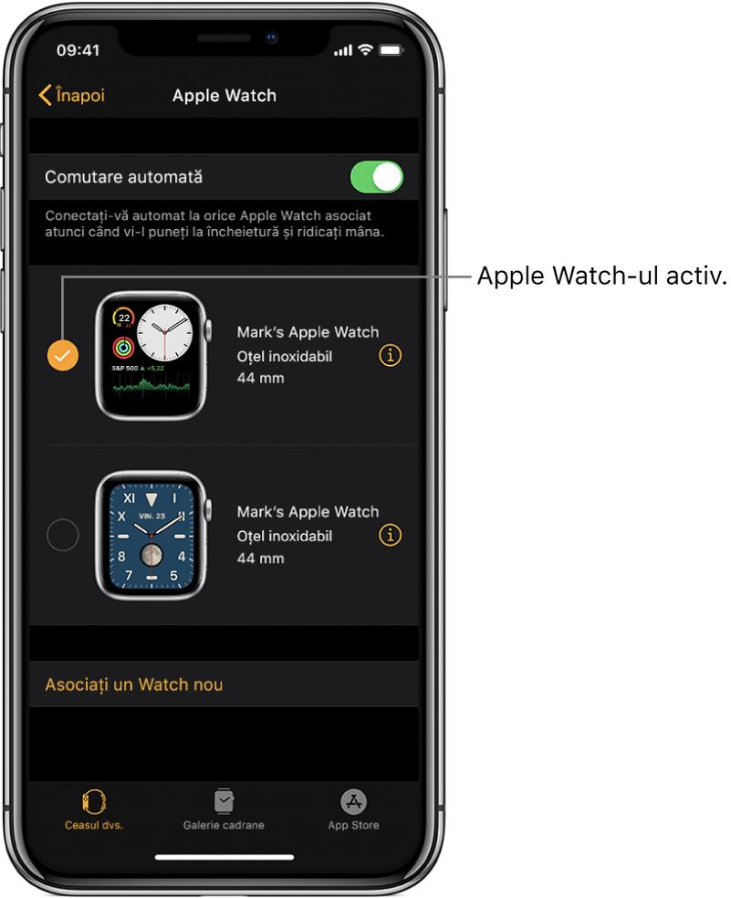 Bifa indică Apple Watch-ul activ.