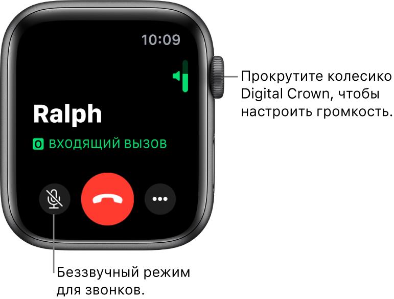 Во время входящего телефонного вызова на экране отображается горизонтальный индикатор громкости в правом верхнем углу, кнопка отключения звука в левом нижнем углу, красная кнопка «Отклонить» и кнопка «Еще».