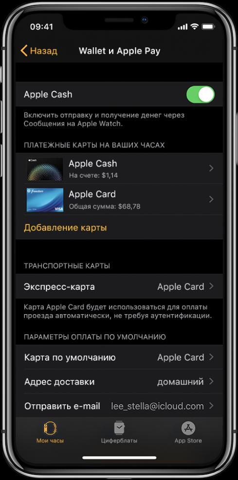 Экран «Wallet и ApplePay» в приложении AppleWatch на iPhone. На экране показаны карточки, которые Вы добавили в AppleWatch, карточка, которую Вы выбрали в качестве транспортной экспресс-карты, и параметры оплаты по умолчанию.