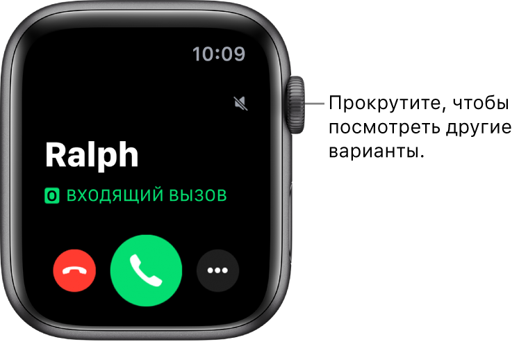 Экран AppleWatch во время входящего вызова: имя абонента, слова «Входящий вызов», красная кнопка «Отклонить», зеленая кнопка «Ответить» и кнопка «Еще».