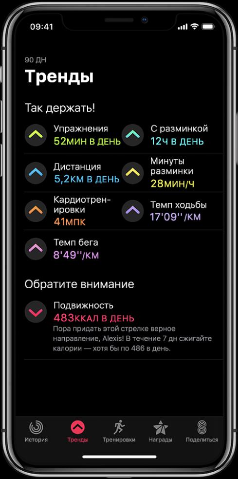 Вкладка «Тренды» в приложении «Активность» на iPhone. Под заголовком «Тренды» в верхней части экрана отображается несколько показателей: «Упражнения», «С разминкой», «Расстояние» и другие. Под заголовком «Обратите внимание» написано «Двигайтесь».
