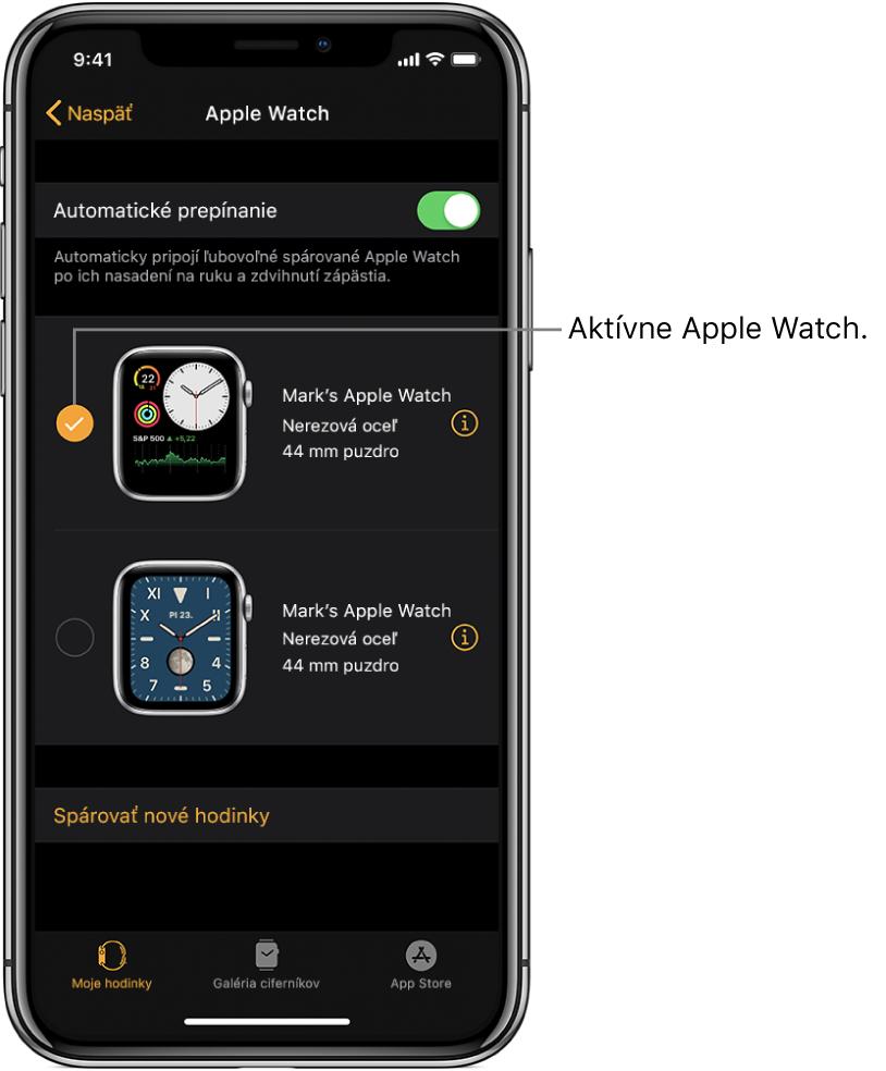 Značka odškrtnutia ukazuje aktívne AppleWatch.