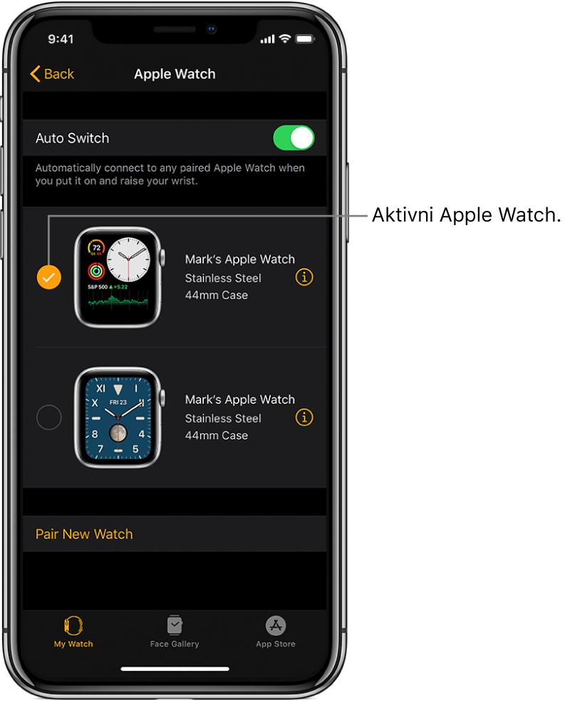 Kljukica pomeni, da je ura Apple Watch aktivna.
