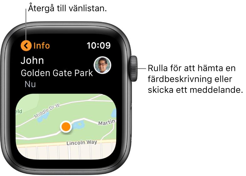 En skärm med information om en väns plats, bland annat hur långt bort personen är och var personen befinner sig på kartan.