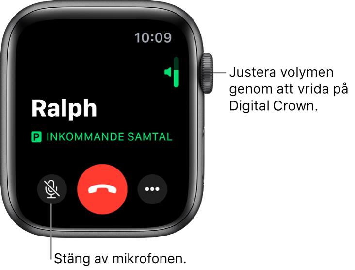 Under ett inkommande samtal visar skärmen en horisontell volymindikator uppe till höger, knappen för ljud av längst ned till vänster, den röda knappen Avvisa och knappen för fler alternativ.