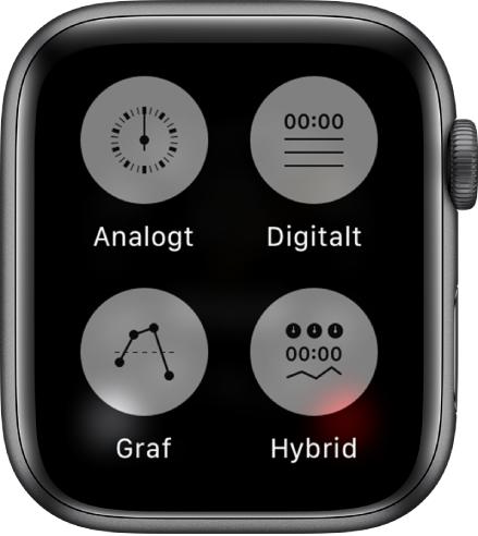 När appen Tidtagarur är öppen och du trycker på skärmen visas fyra knappar som du använder till att ställa in formatet: Analog, Digital, Graf och Hybrid.
