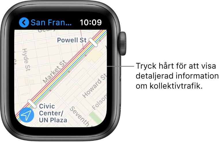 Appen Kartor med kollektivtrafikinformation, inklusive rutter och namn på hållplatser och stationer.