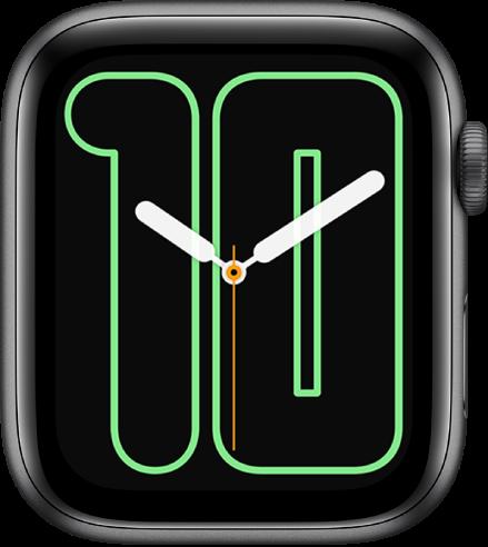 หน้าปัดนาฬิกาตัวเลขสีเดียวที่แสดงเข็มแบบอนาล็อกเหนือตัวเลขขนาดใหญ่ที่ระบุวันที่