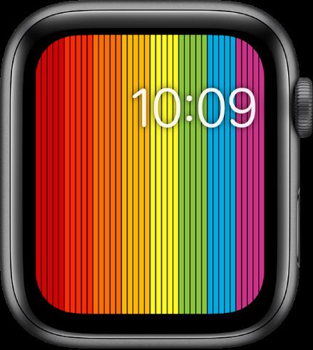หน้าปัดนาฬิกา Pride แบบดิจิตอลที่แสดงแถบสีรุ้งแนวตั้งพร้อมเวลาที่ด้านขวาบนสุด