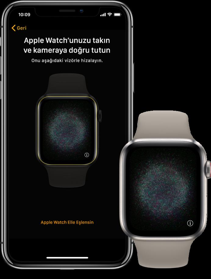 Eşlenen ekranlarını gösteren bir iPhone ve Apple Watch.