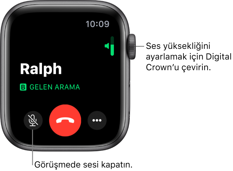 Gelen bir telefon görüşmesi sırasında, ekranda sağ üstte yatay ses yüksekliği göstergesi, sol altta Sesi Kapat düğmesi, kırmızı Reddet düğmesi ve Daha Fazla Seçenek düğmesi gösterilir.