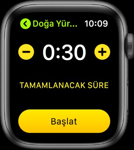 Üst tarafta, iki yanındaki – ve + düğmeleriyle süreyi ve en altta Başlat düğmesini gösteren hedef ekranı.