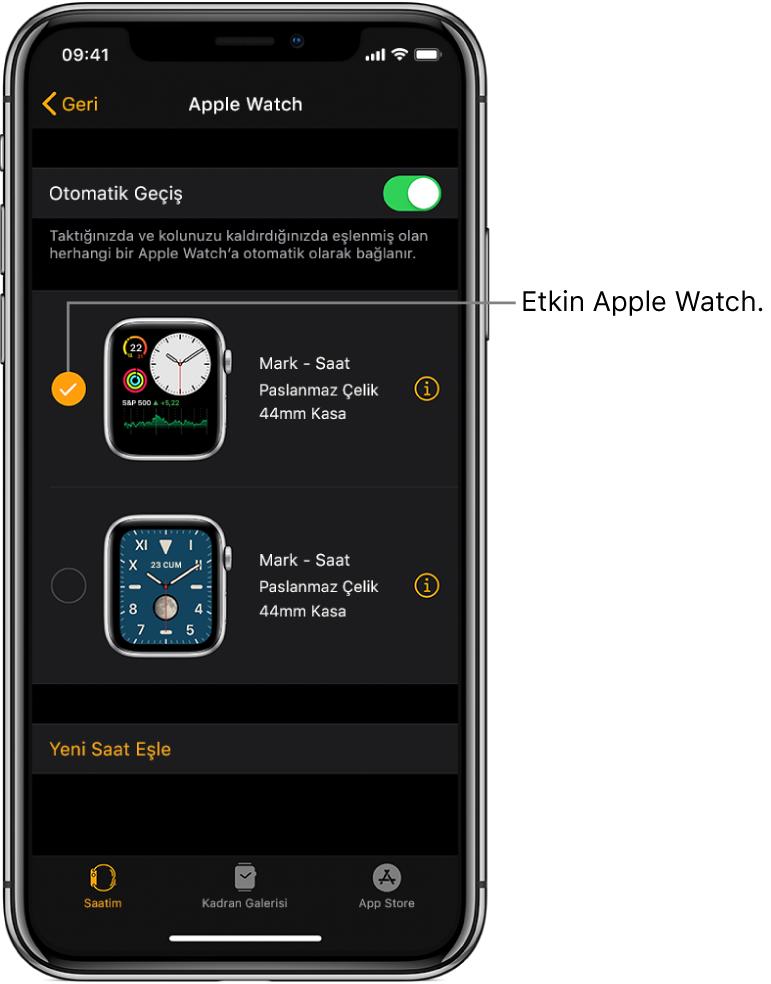 Onay işareti, etkin AppleWatch'u gösterir.
