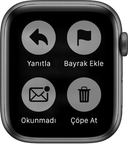 AppleWatch'ta bir iletiyi görüntülerken ekrana bastığınızda ekranda dört düğme görünür: Yanıtla, Bayrak Ekle, Okunmadı ve Çöp Sepeti.