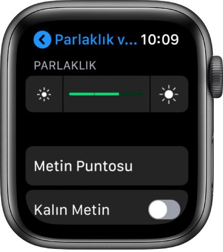 En üstte Parlaklık sürgüsünü, altında Metin Puntosu düğmesini ve en altta Kalın Metin denetimini gösteren AppleWatch parlaklık ayarları.