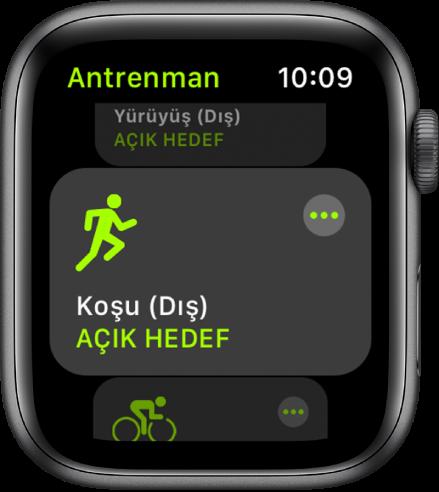 Koşu (Dış) antrenmanının vurgulandığı Antrenman ekranı.