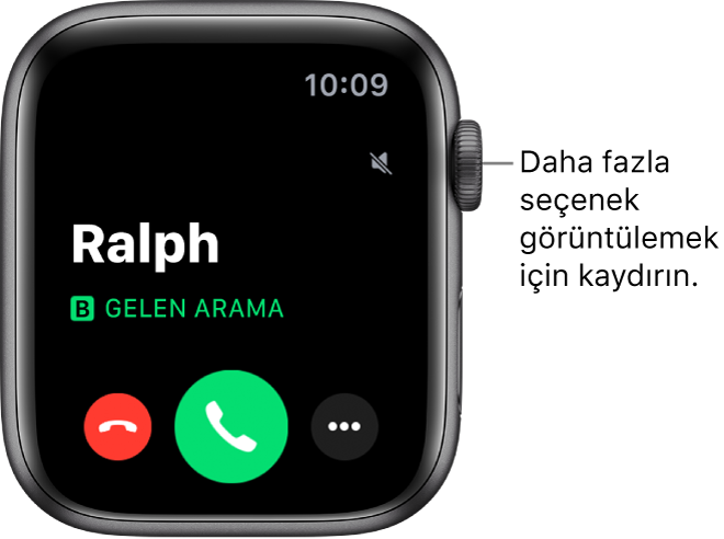 """Arama aldığınızdaki Apple Watch ekranı: Arayanın adı, """"Gelen Arama"""" ifadesi, kırmızı Reddet düğmesi, yeşil Cevapla düğmesi ve Daha Fazla Seçenek düğmesi."""