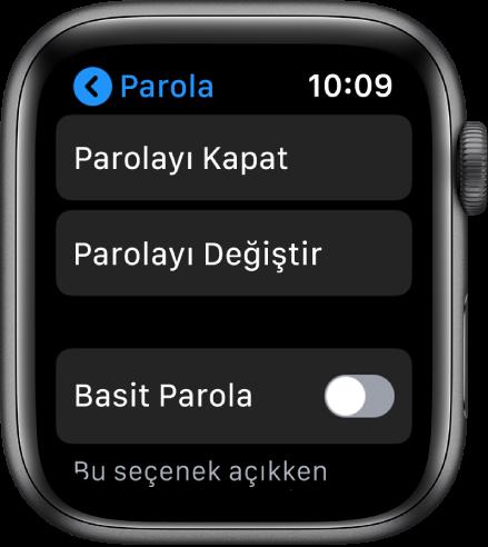 Üstte kapalı Parola düğmesi, altında Parolayı Değiştir düğmesi ve alt kısımda Basit Parola gösterilen parola ayarları.